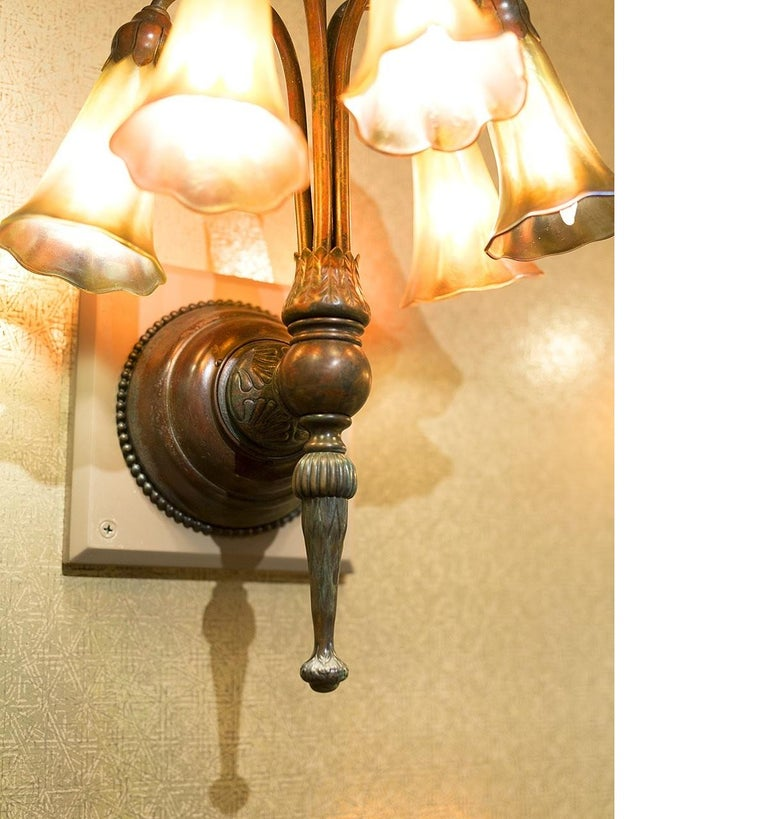 """Wall Sconces Nyc: Tiffany Studios New York """"Five-Light Lily"""" Wall Sconces"""
