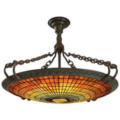 "Tiffany Studios New York ""Geometric Tile"" Chandelier"