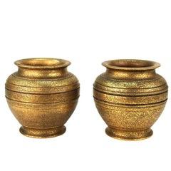 Tiffany Studios New York Gilded Age Heavy Gilt Bronze Urns