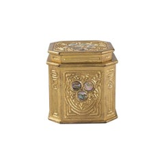 Tiffany Studios New York Gilt Bronze and Abalone Inkwell