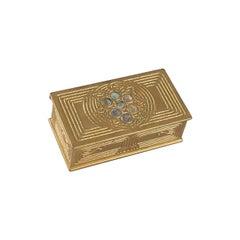 Tiffany Studios New York Gilt Bronze and Abalone Stamp Box