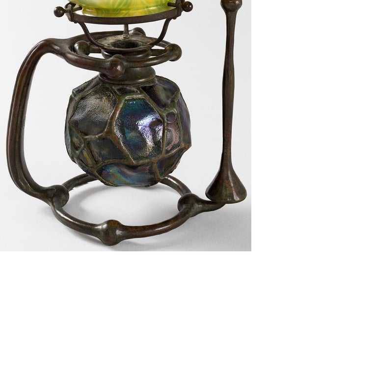 Art Nouveau Tiffany Studios New York Glass and Bronze Gimbal Candlestick with Snuffer For Sale