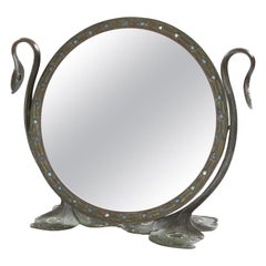 "Tiffany Studios New York Glass and Bronze ""Peacock"" Mirror"