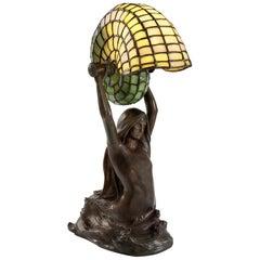 "Tiffany Studios New York ""Nautilus"" Table Lamp with ""Mermaid"" Base"