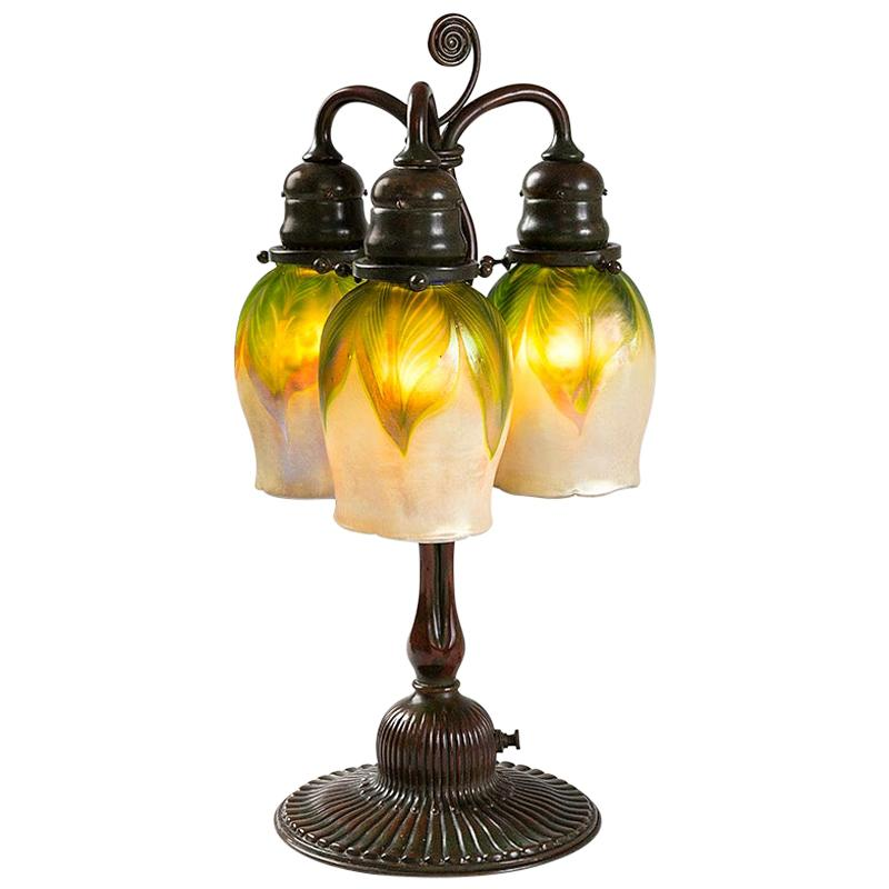 "Tiffany Studios New York ""Newell Post"" Favrile Glass Desk Lamp"