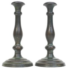 Tiffany Studios New York Patinated Bronze Art Nouveau Candlesticks