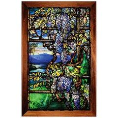 """Tiffany Studios New York """"Wisteria"""" Leaded Glass Window"""