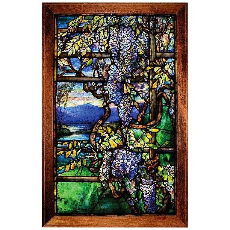 """Tiffany Studios New York """"Wisteria"""" Leaded Glass Window For Sale"""