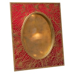 Tiffany Studios Pine Needle Picture Frame, Red Glass, and Gilt Metal, Signed