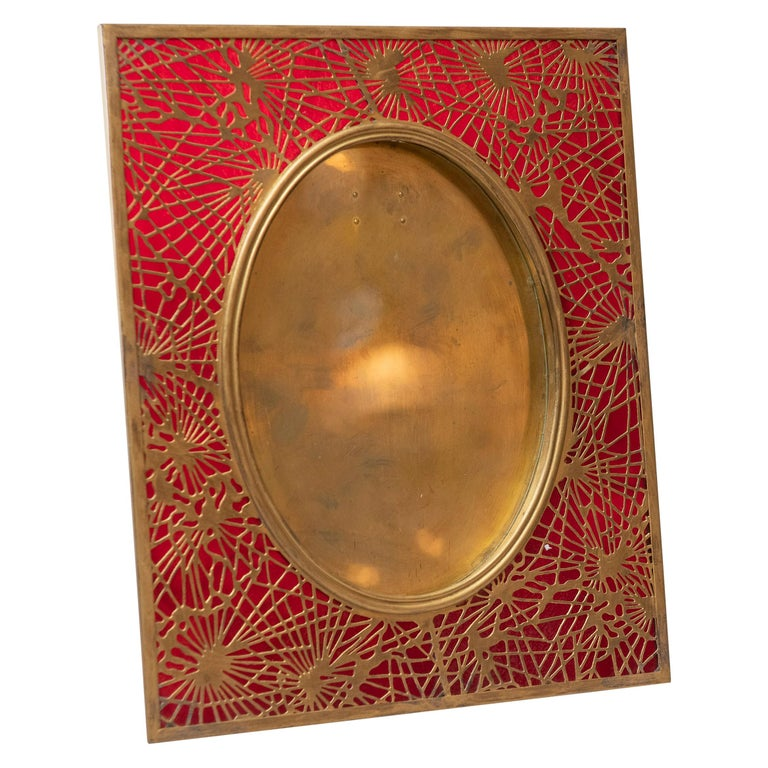 Tiffany Studios Pine Needle Picture Frame, Red Glass, and Gilt Metal, Signed For Sale