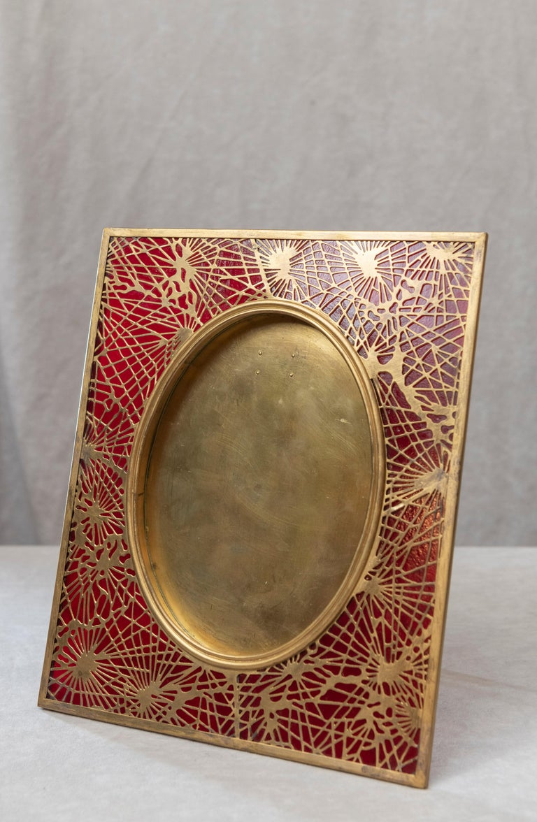 Art Nouveau Tiffany Studios Pine Needle Picture Frame, Red Glass, and Gilt Metal, Signed For Sale