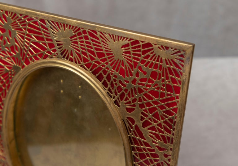 American Tiffany Studios Pine Needle Picture Frame, Red Glass, and Gilt Metal, Signed For Sale