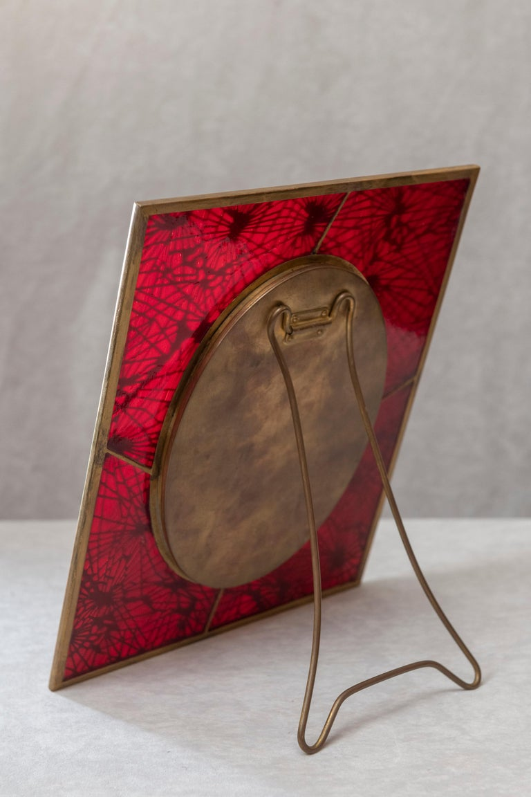 Tiffany Studios Pine Needle Picture Frame, Red Glass, and Gilt Metal, Signed In Excellent Condition For Sale In San Rafael, CA