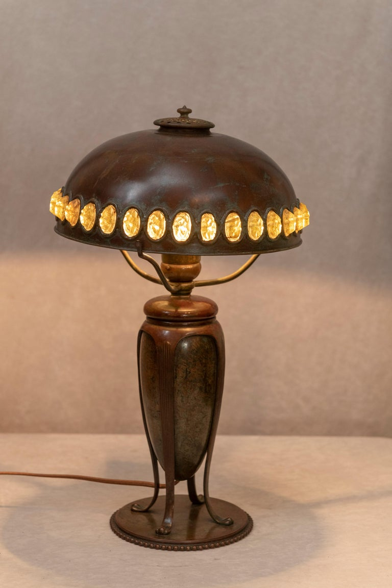 Art Nouveau Tiffany Studios Table Lamp with Jeweled Shade, circa 1905 For Sale