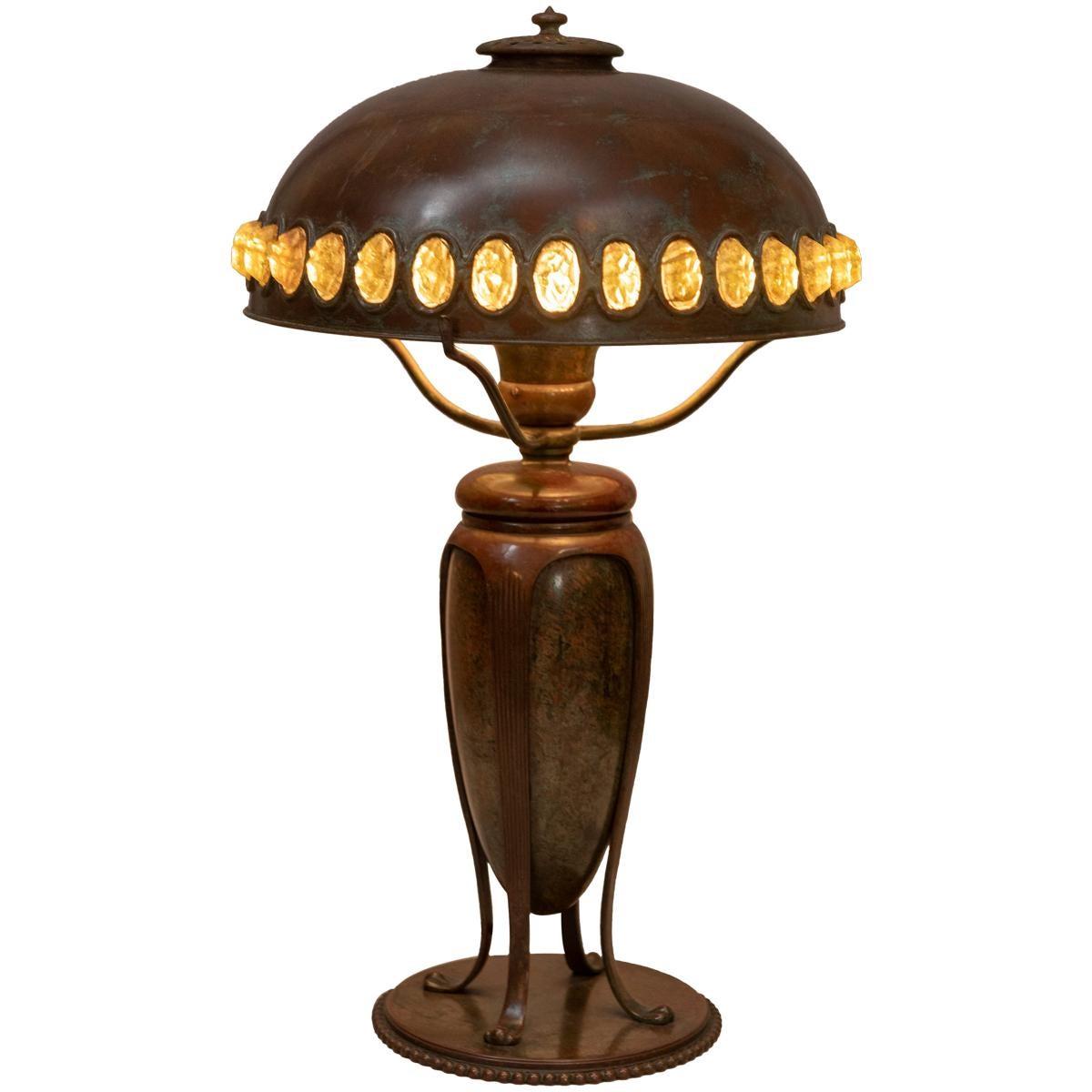 Tiffany Studios Table Lamp with Jeweled Shade, circa 1905