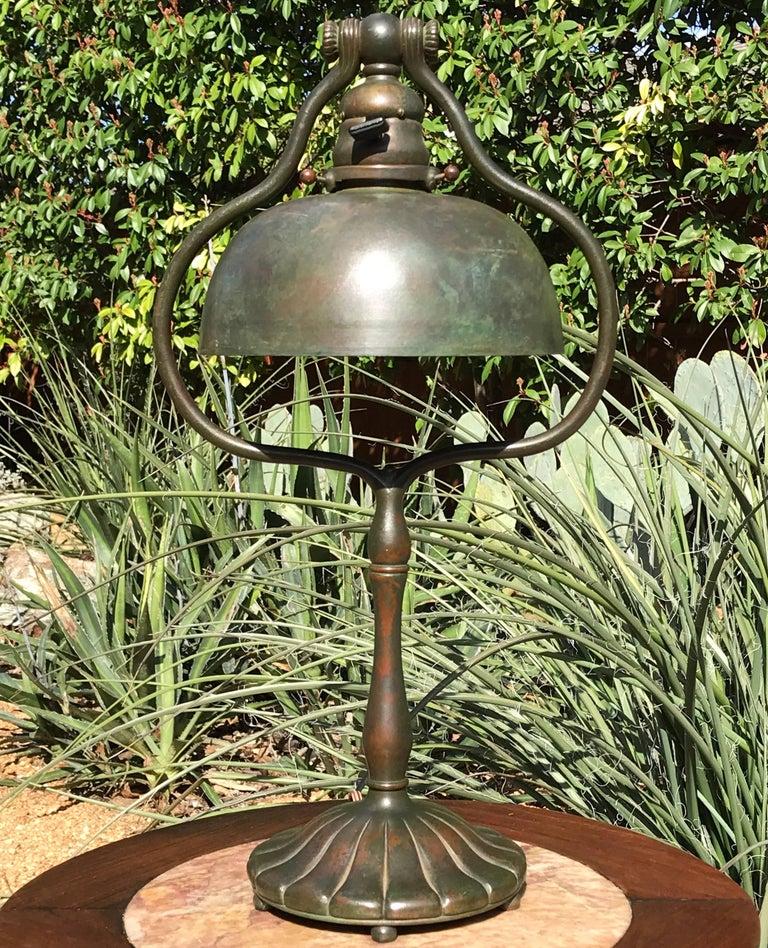 Tiffany Studios Tall Bronze Harp Table Desk Lamp New York 1915 At 1stdibs