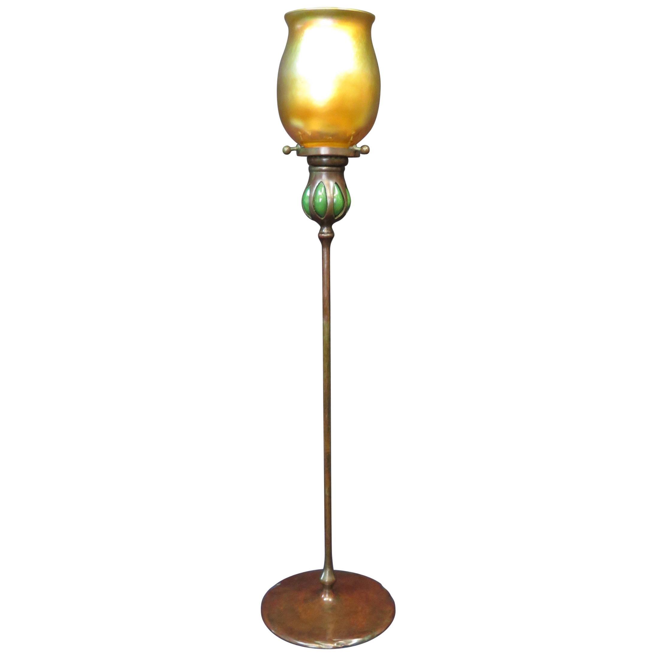 Tiffany Studios Tall Candlestick with Tiffany Studios Shade