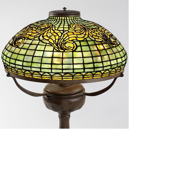 A rare and historically significant Tiffany Studios New York glass and bronze