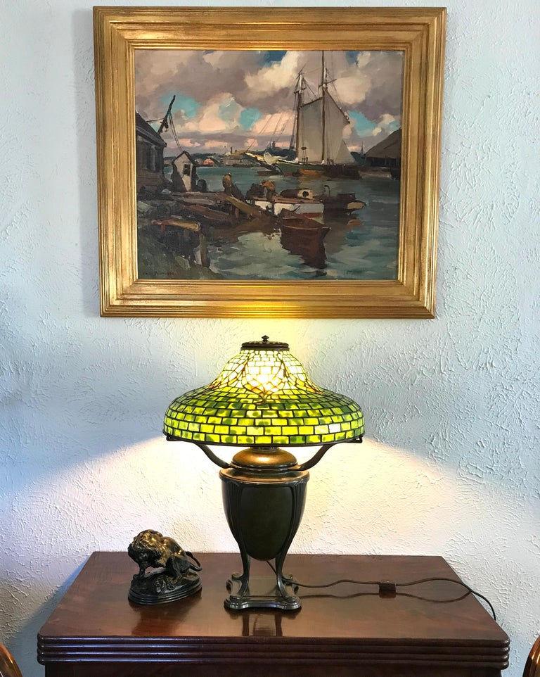 "Hand-Crafted Tiffany Studios ""Tyler"" Table Lamp For Sale"