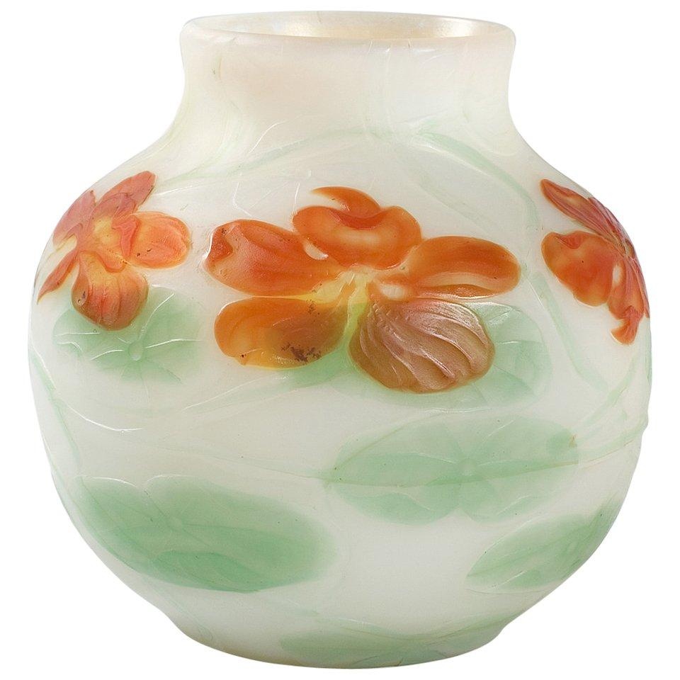 "Tiffany Studios New York Wheel-Carved ""Nasturtium"" Favrile Glass Vase"
