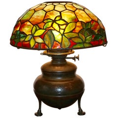 Tiffany Studios Woodbine Stained Glass Table Lamp