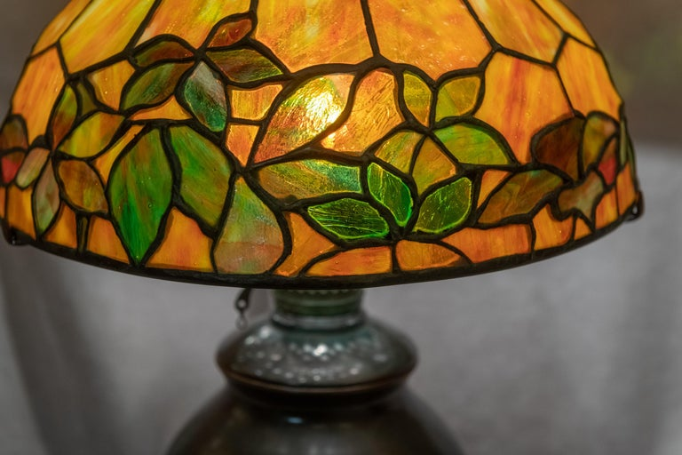 There is a reason why Tiffany is the most sought after of all the great lamp companies from the turn of the century. One just needs to look at the glass and the workmanship. This shade offers some of the richest coloration Tiffany had in his