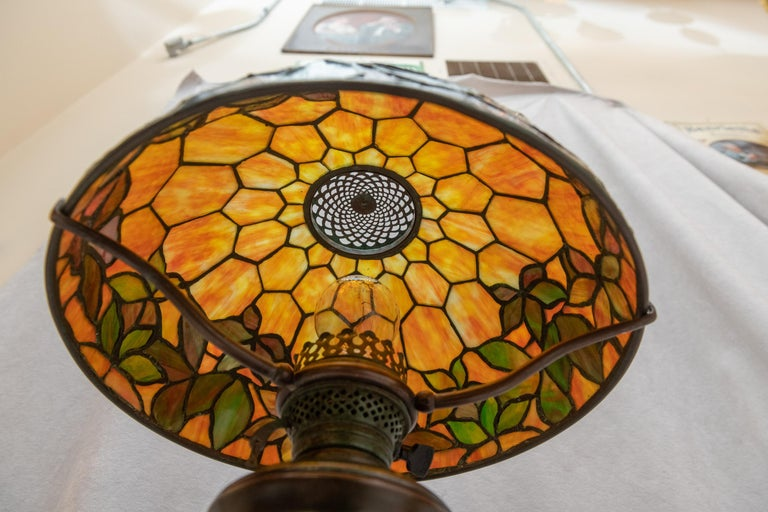 Hand-Crafted Tiffany Studios Woodbine Table Lamp For Sale