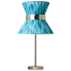 """Tiffany"" Table Lamp 30 Azure Chalky Paint, Antiqued Brass, Silvered Glass"