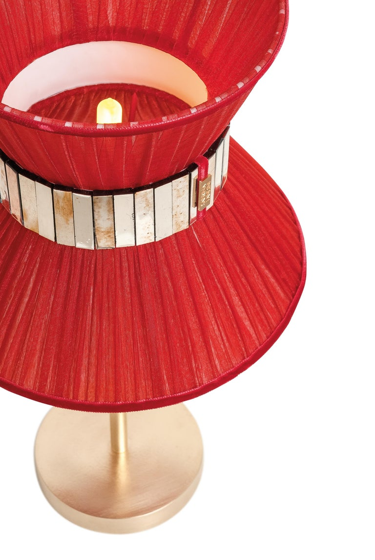 """Modern  """"Tiffany"""" Table Lamp 30 Ruby Silk, Antiqued Brass, Silvered Glass   For Sale"""