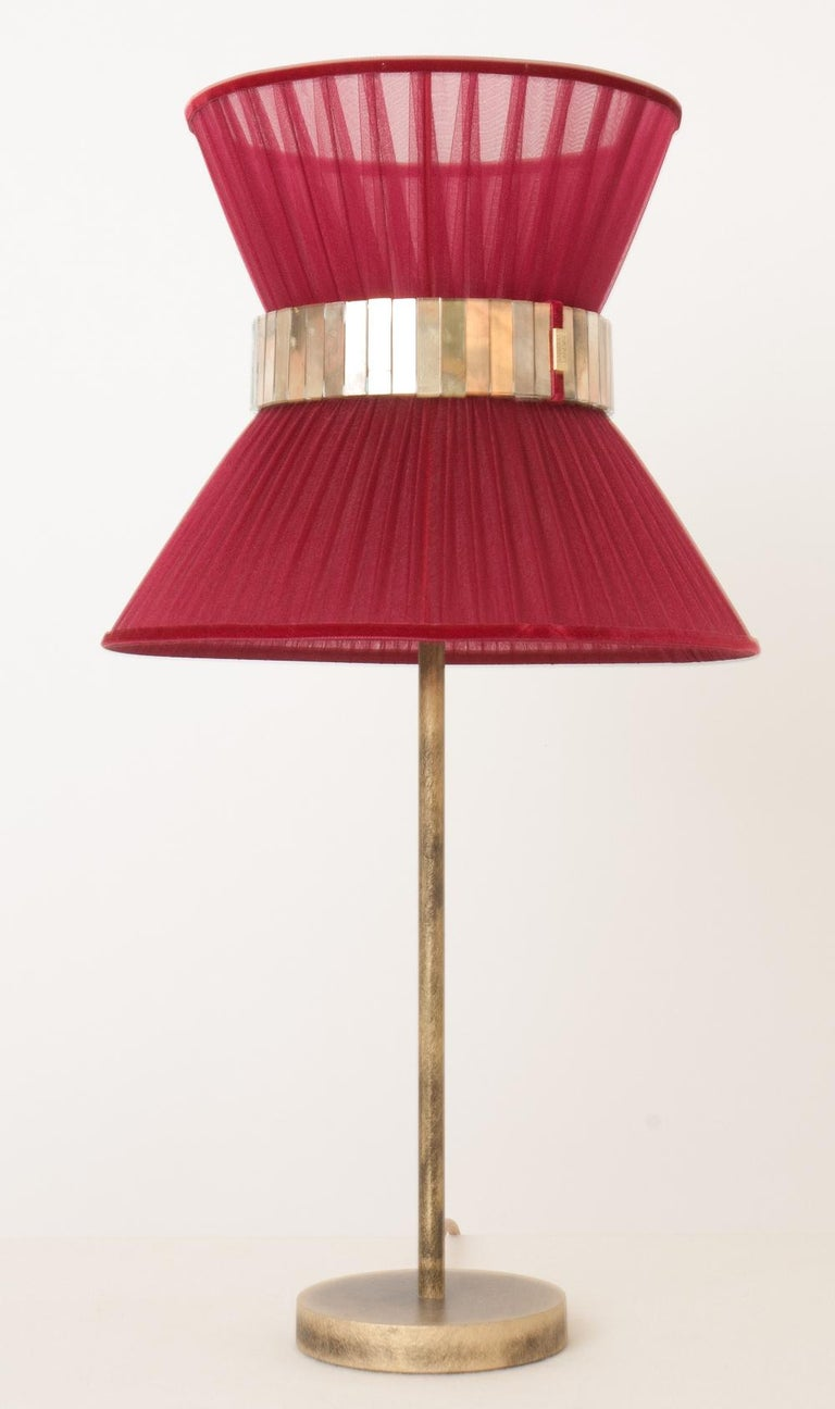 """Contemporary  """"Tiffany"""" Table Lamp 30 Ruby Silk, Antiqued Brass, Silvered Glass   For Sale"""
