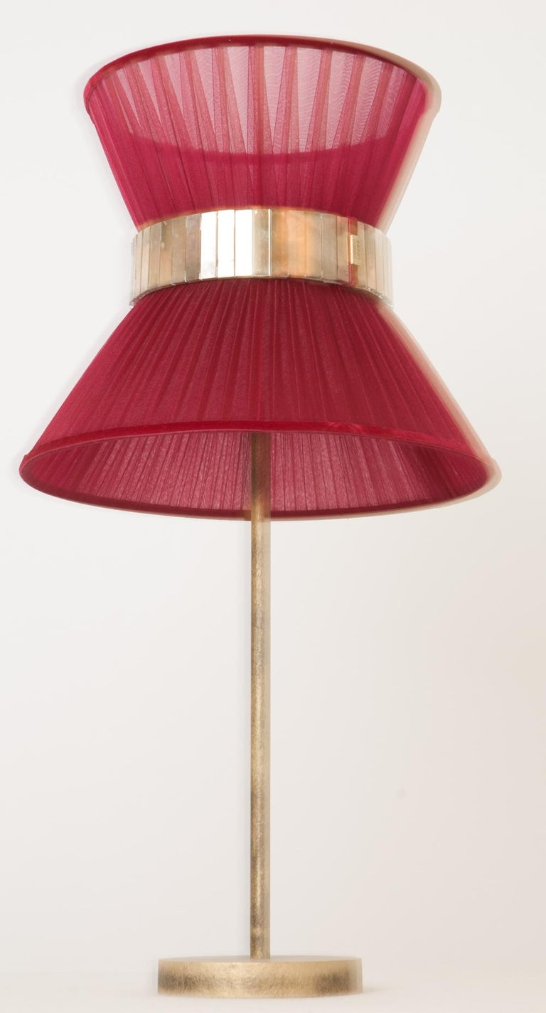 """Art Glass  """"Tiffany"""" Table Lamp 30 Ruby Silk, Antiqued Brass, Silvered Glass   For Sale"""