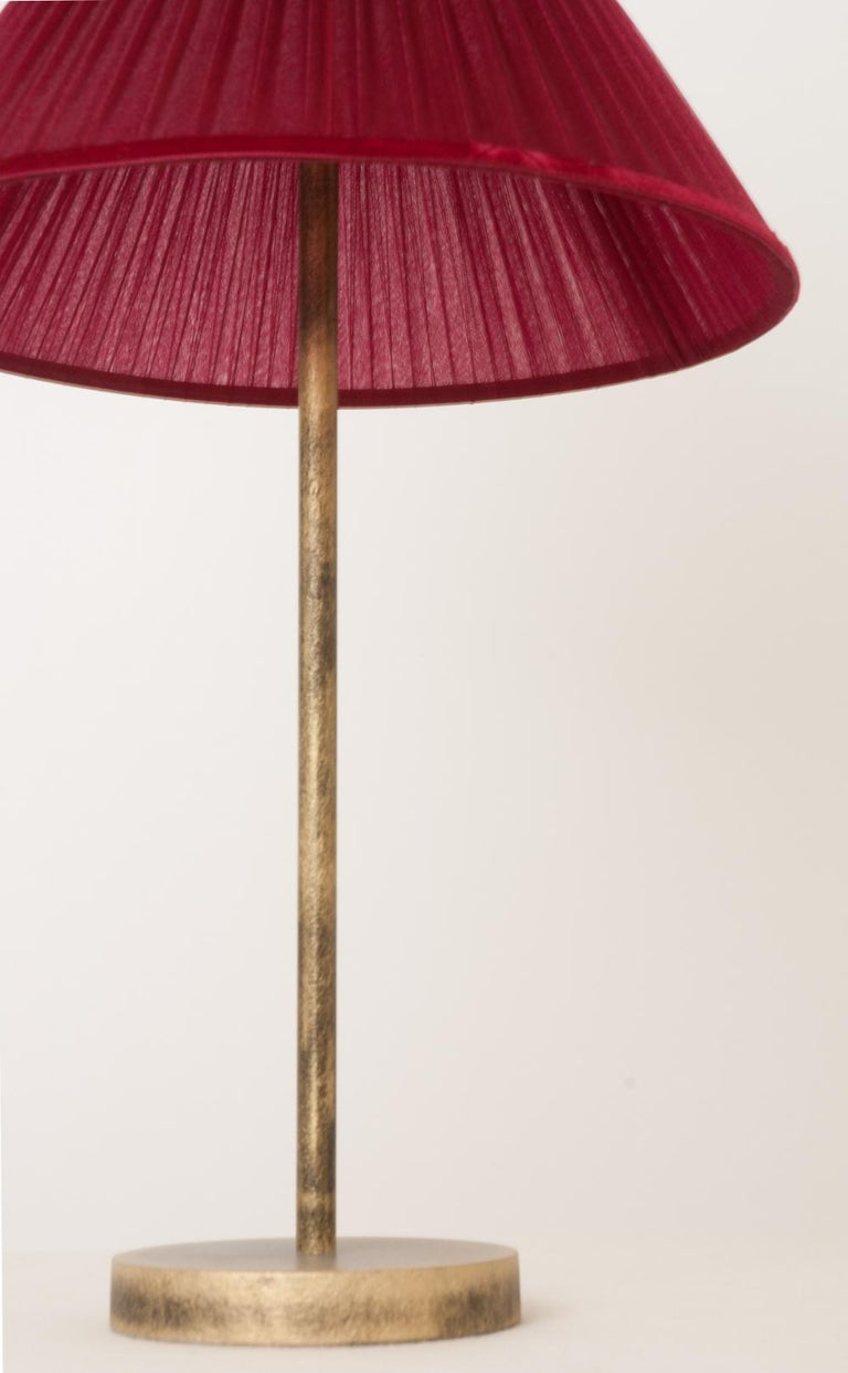 """""""Tiffany"""" Table Lamp 30 Ruby Silk, Antiqued Brass, Silvered Glass   For Sale 1"""