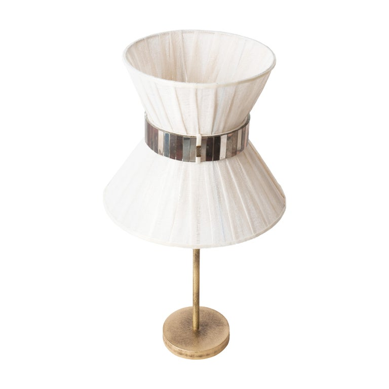 """Modern """"Tiffany"""" Table Lamp 30 Chalky Painted, Antiqued Brass, Silvered Glass For Sale"""