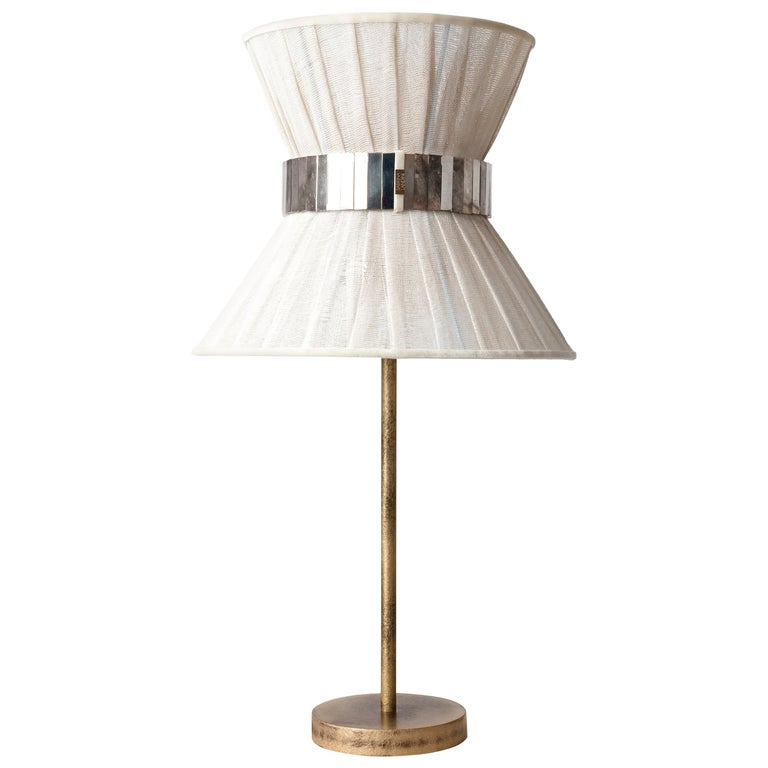 """""""Tiffany"""" Table Lamp 30 Chalky Painted, Antiqued Brass, Silvered Glass For Sale"""
