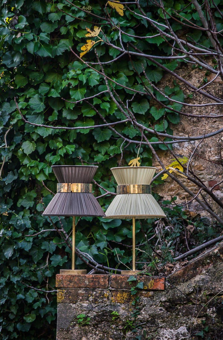 """""""Tiffany"""" Table Lamp in tobacco Silk, Antiqued Brass, Silvered Glass Handmade   For Sale 1"""