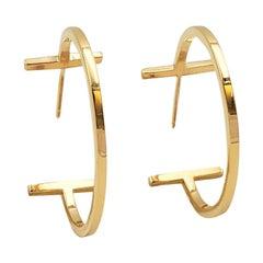 Tiffany 'Tiffany T' Yellow Gold Wire Hoop Earrings, Medium Model