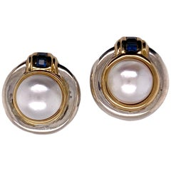 Tiffany Vintage Mabe Pearl Sapphire Sterling Silver Yellow Gold Earrings