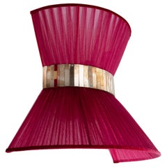 """Tiffany"" Wall Lamp Bow Tie, Ruby Silk, Antiqued Brass, Silvered Glass"