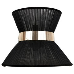 """""""Tiffany"""" Wall Sconce in Black Silk, Antiqued Brass, Silvered Glass"""