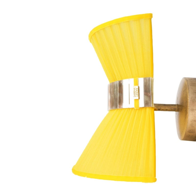 """Contemporary """"Tiffany"""" contemporary bowtie Wall Sconce 25, silk, Brass, Silvered Glass For Sale"""