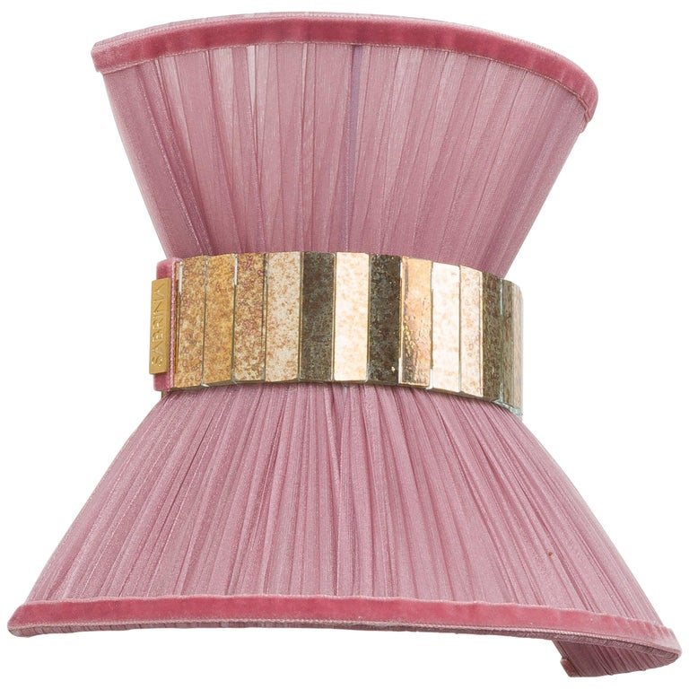 """""""Tiffany"""" contemporary bowtie Wall Sconce 25, silk, Brass, Silvered Glass For Sale"""