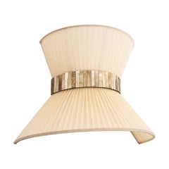 """Tiffany"" Wall lamp 40cm bow tie, Ivory Silk, Antiqued Brass, Silvered Glass"