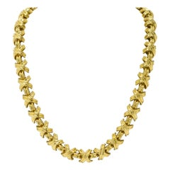 Tiffany X Necklace Wide Heavy Link 18k Gold Large Size 3 Oz Schlumberger