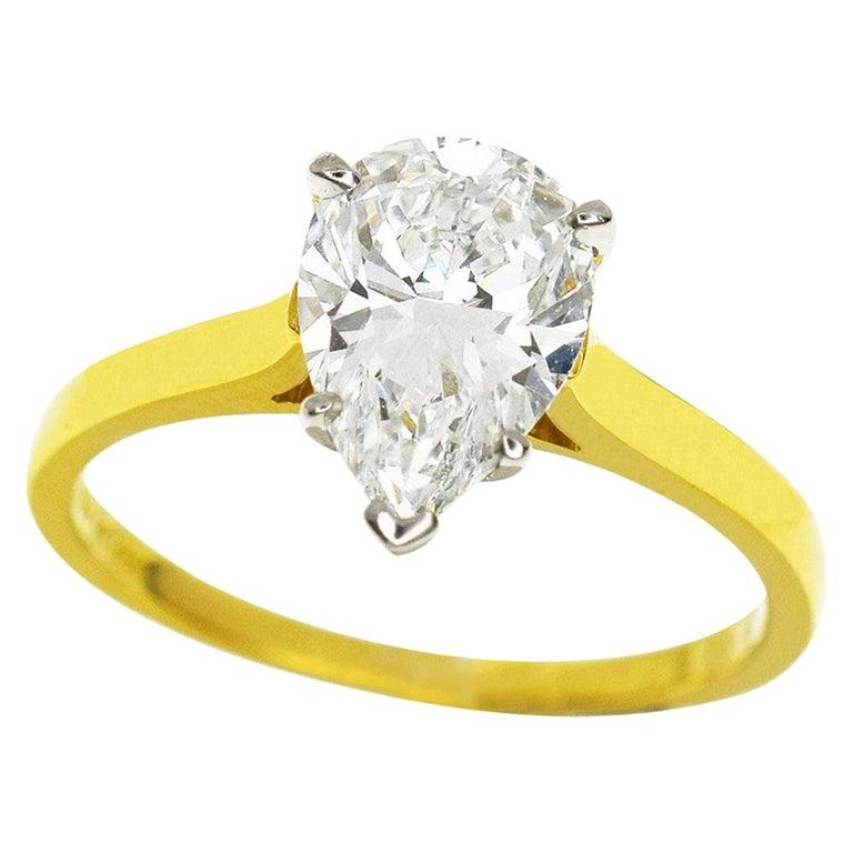 5d8e54438b689 Tiffany & Co. Pear Shape 1.26 Ct Diamond 18k Yellow Gold Platinum Solitaire  Ring