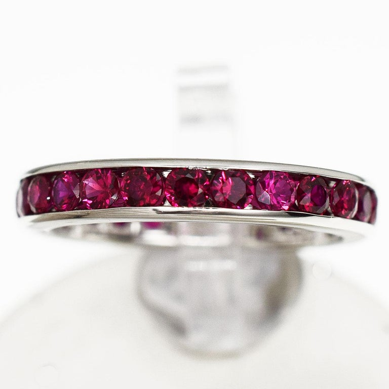 Brand:TIFFANY&Co Name:Ruby Eternity Band Ring Material:25P Ruby, PT950 Platinum Weight:3.6g(Approx) Ring size(inch): US & Canada:4  /  French & Russian:46.5 /  Japanese: 6.5(Approx) Width(inch):3.08mm / 0.12