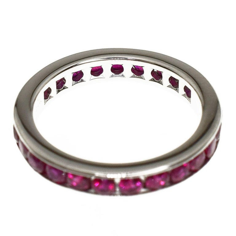 Tiffany & Co Ruby Eternity Platinum Band Ring In Good Condition For Sale In Tokyo, JP