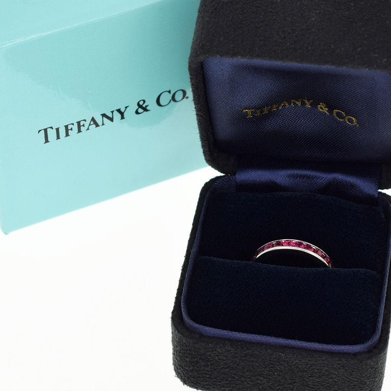 Tiffany & Co Ruby Eternity Platinum Band Ring For Sale 5