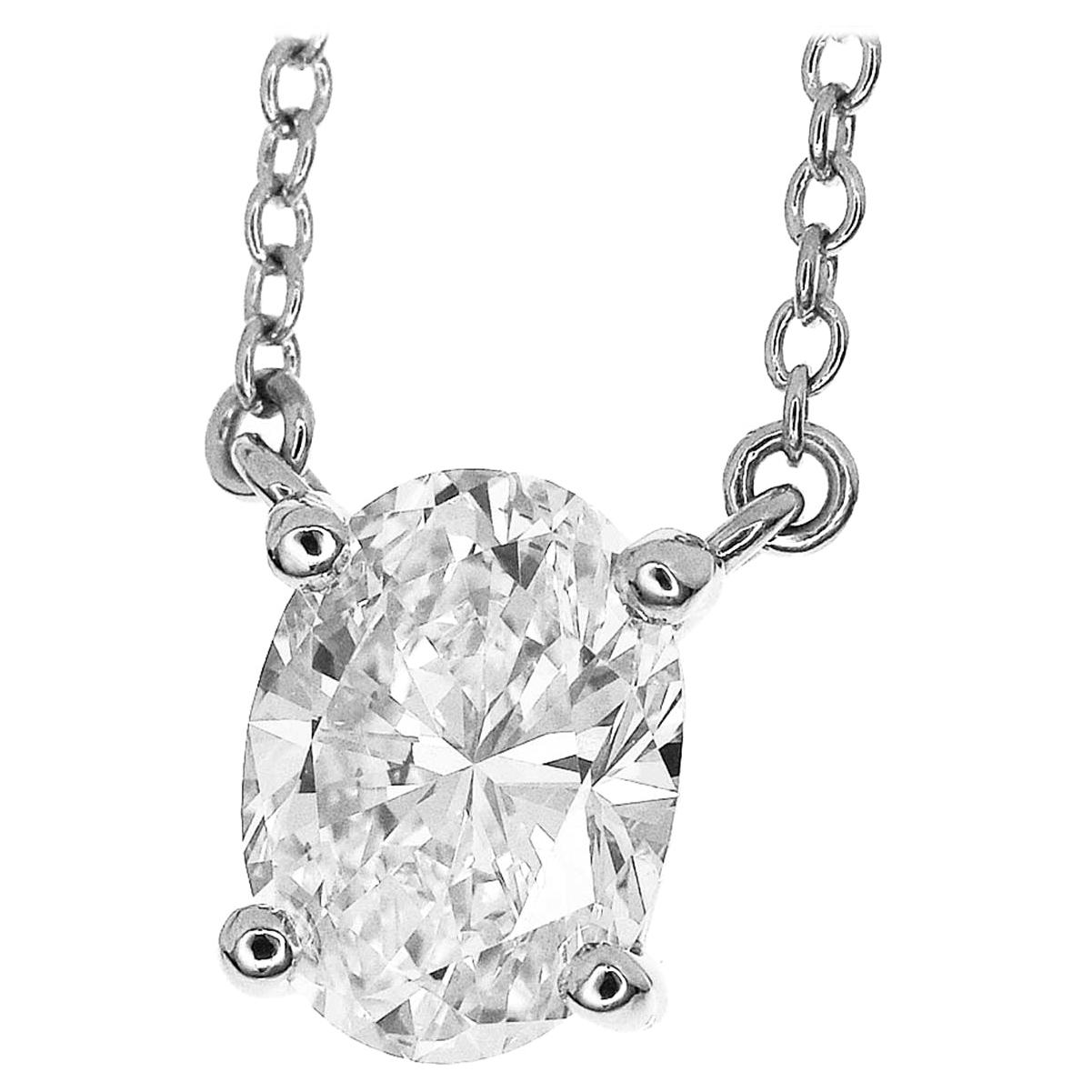 Tiffany & Co. Solitaire 1.02ct Diamond Platinum Pendant Necklace