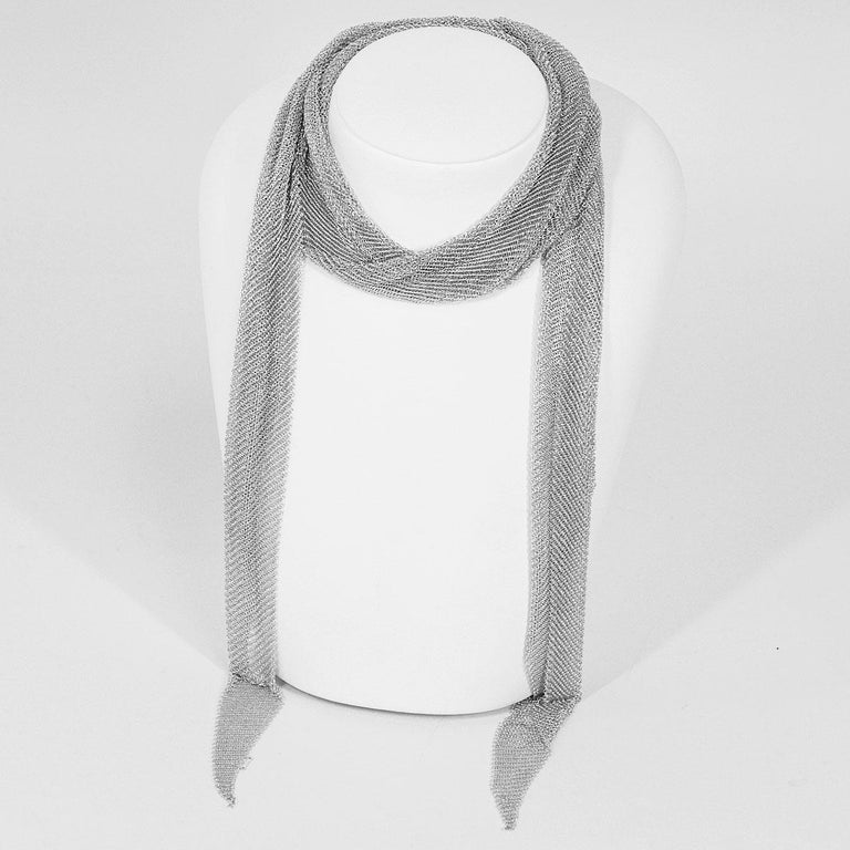 Brand:TIFFANY&Co. Retail Price:US$3,800 Name:Mesh Scarf Necklace Large Material:925 SV Sterling Silver Weight:131.1g(Approx) neck around:105cm/41.5in(Approx) Width(inch):10cm / 3.93in(Approx) Comes with:Tiffany soft case