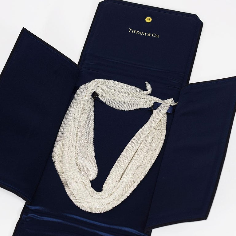 Tiffany & Co. Sterling 925 Silver Mesh Scarf Necklace Large 4